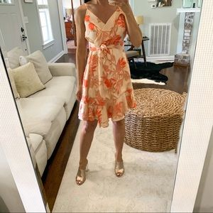 NWT Guess Coral Floral Wrap Dress